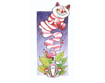"Cheshire Cat Giclee 10"" X 20"" $45."