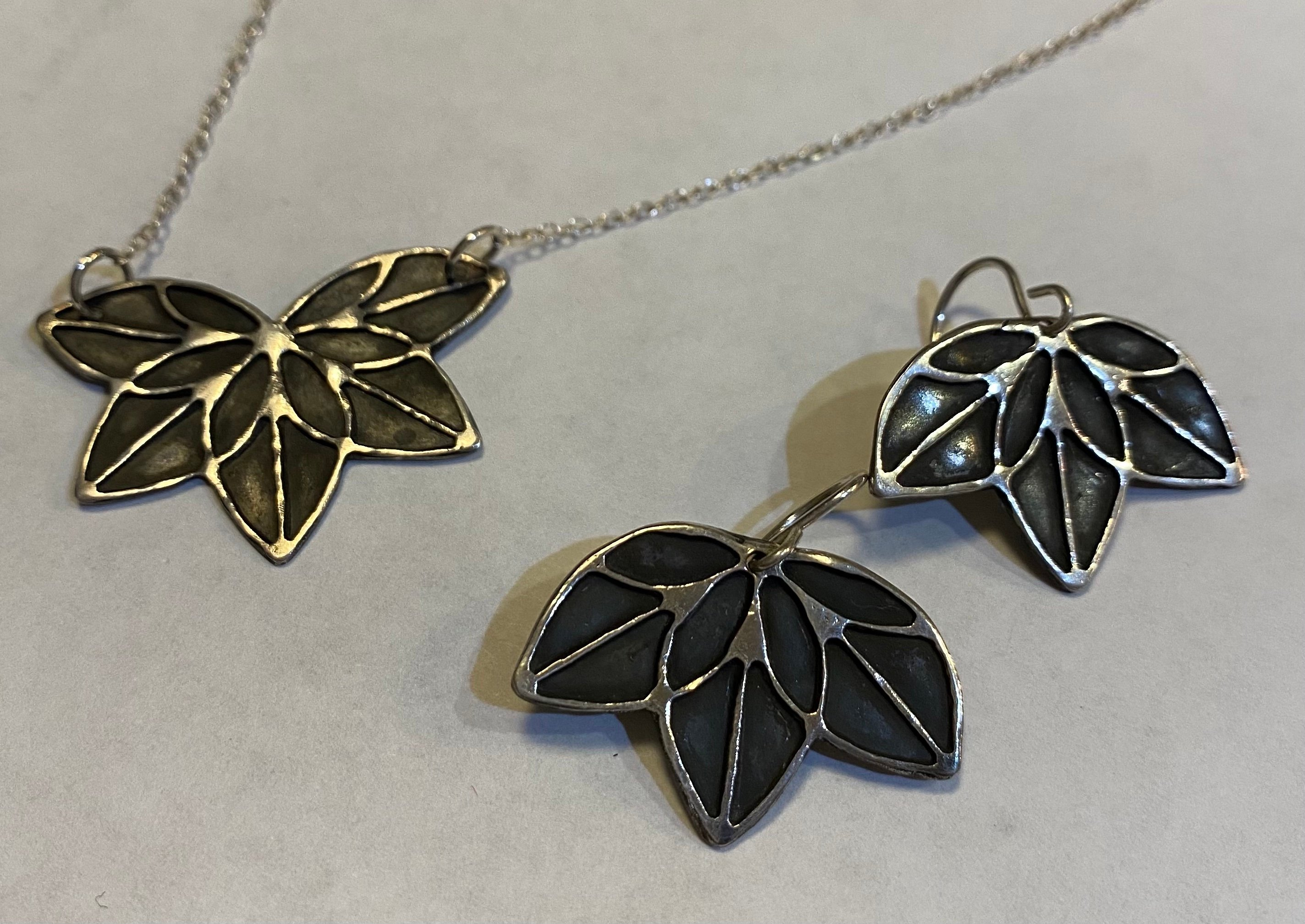 Lotus Necklace and Earrings PMC, Sterling Silver $65. Set