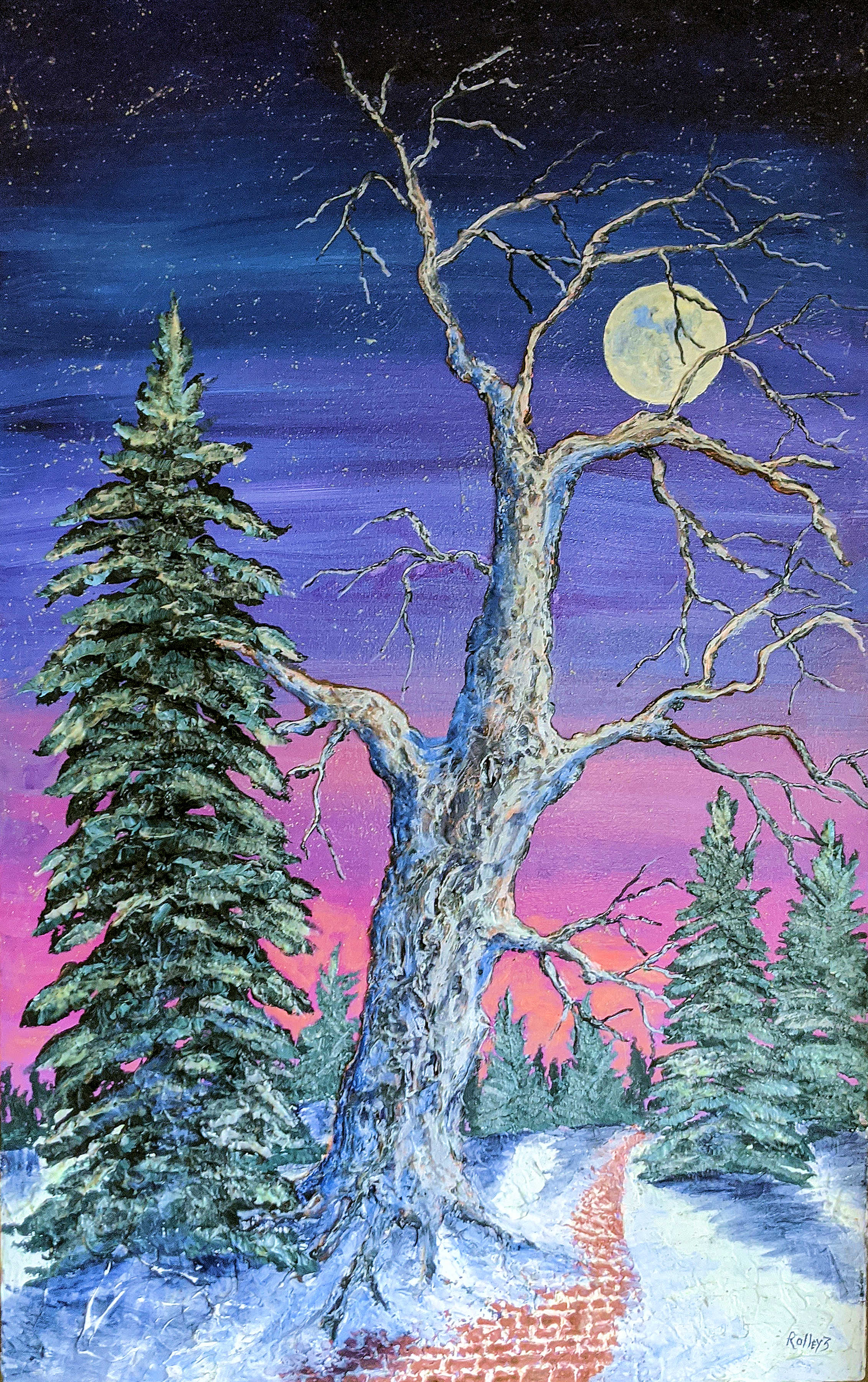 WOODSTOCK WINTER WALK 24X48 inc. $1200.  HIGHLIGHTED WITH GLOW IN DARK LUMINESCENT PAINT