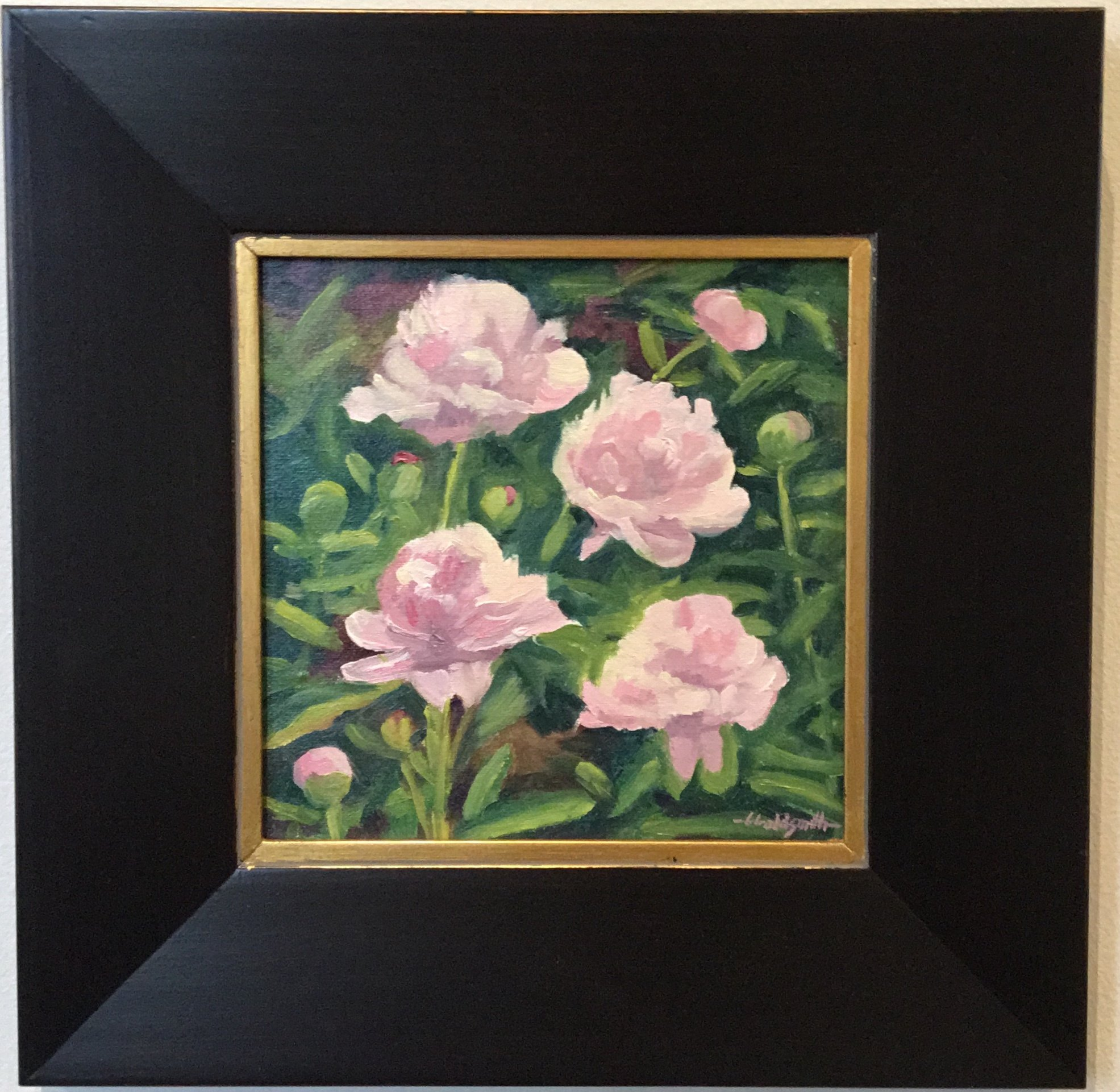 "Port Royal Peonies Oil on linen panel 8"" X 8"" $275."