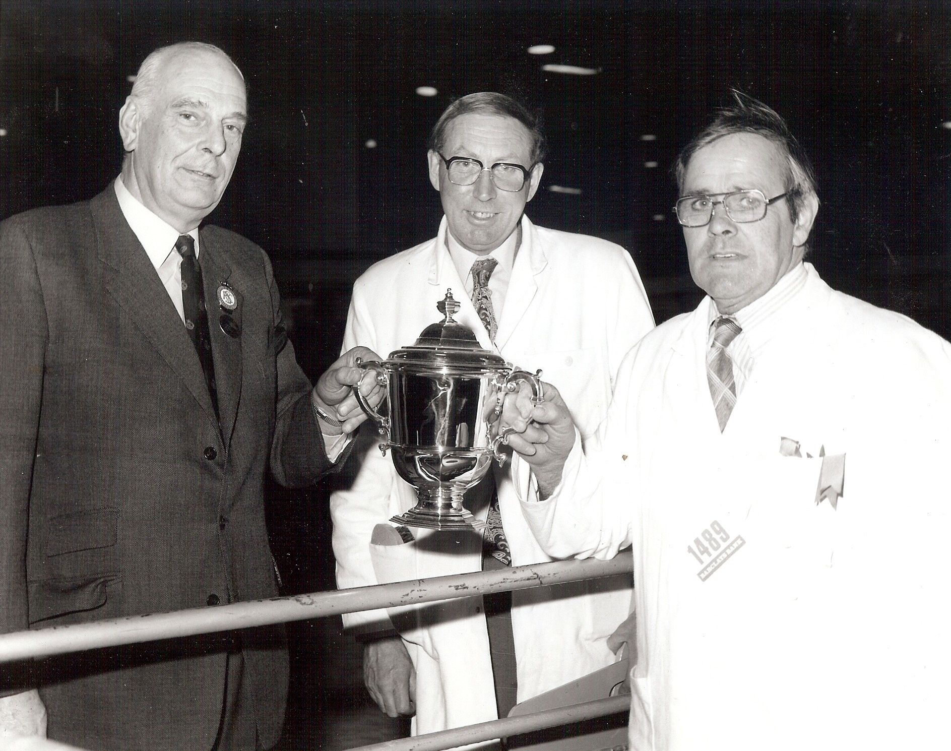 Dick Gough and Reg Simpkin receiving the Royal Smithfield Champion Trophy