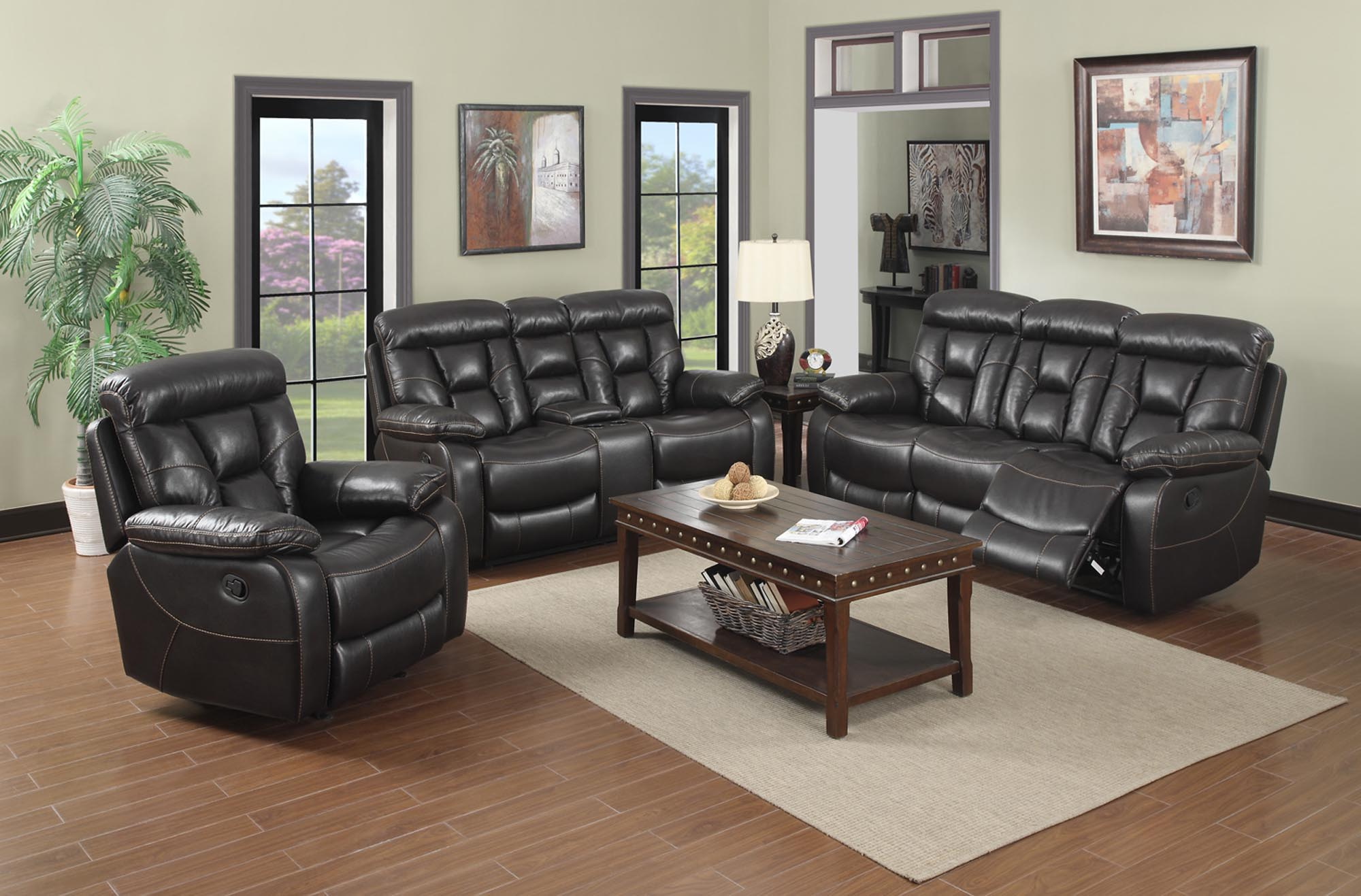 Black Faux Leather Reclining Living Room Set