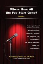 """Where Have All the Pop Stars Gone? Volume 1"" book cover, showing a microphone on a spotlighted stage"