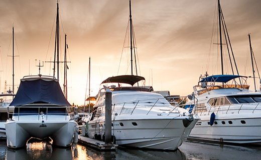 Yacht and Boats at The Marina in The Evening