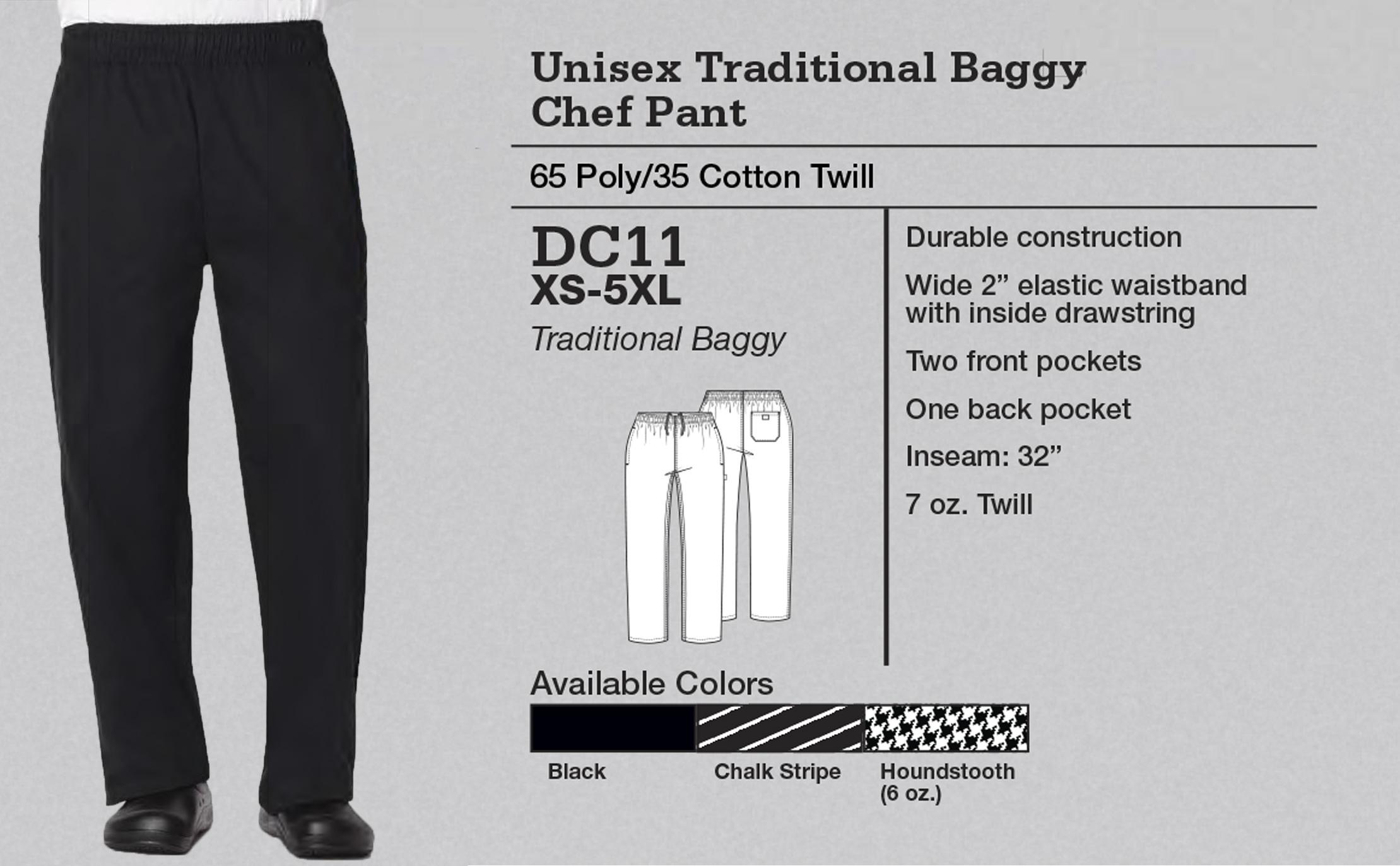 Pantalón de Chef Holgado Tradicional Unisex. DC11.