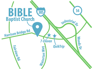 Map showing the location of Bible Baptist Church.