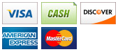 We accept Visa, Cash, Discover, American Express and MasterCard.||||