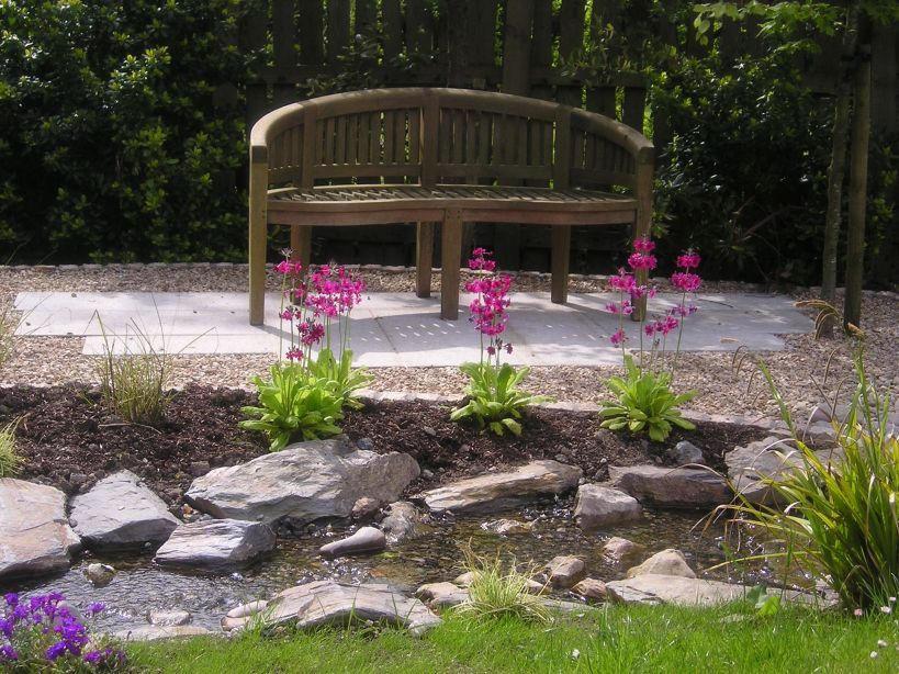 Garden Bench beside stream in Delgany