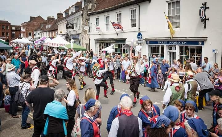 Performing in the High st with Whitethorne Morris