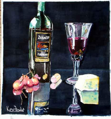 Wine and Cherries ... Watercolour SOLD