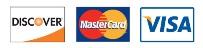 We accept Visa MasterCard Discover