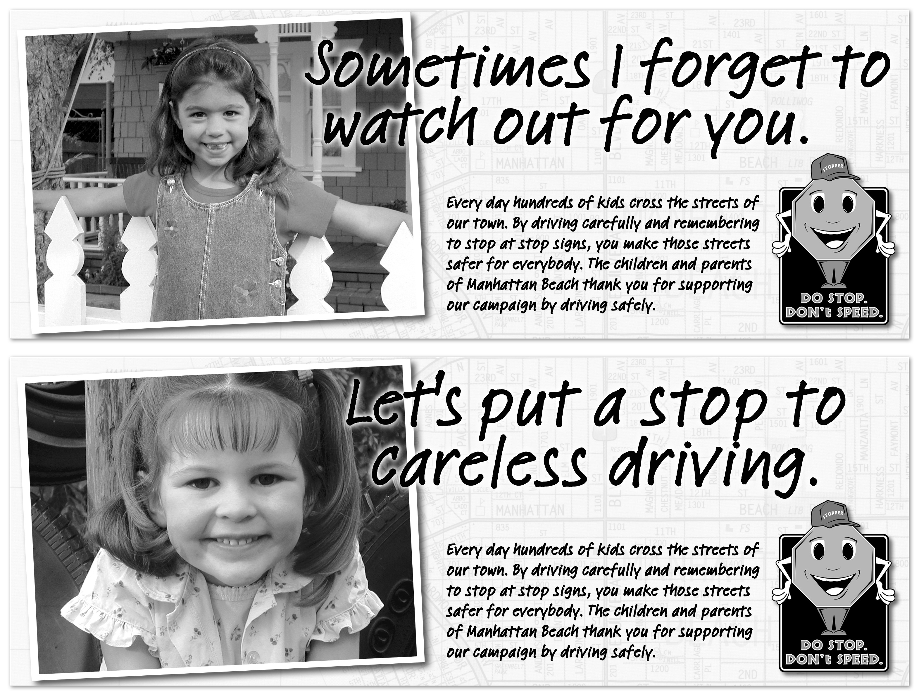 Traffic Safety newspaper campaign for the city of Manhattan Beach