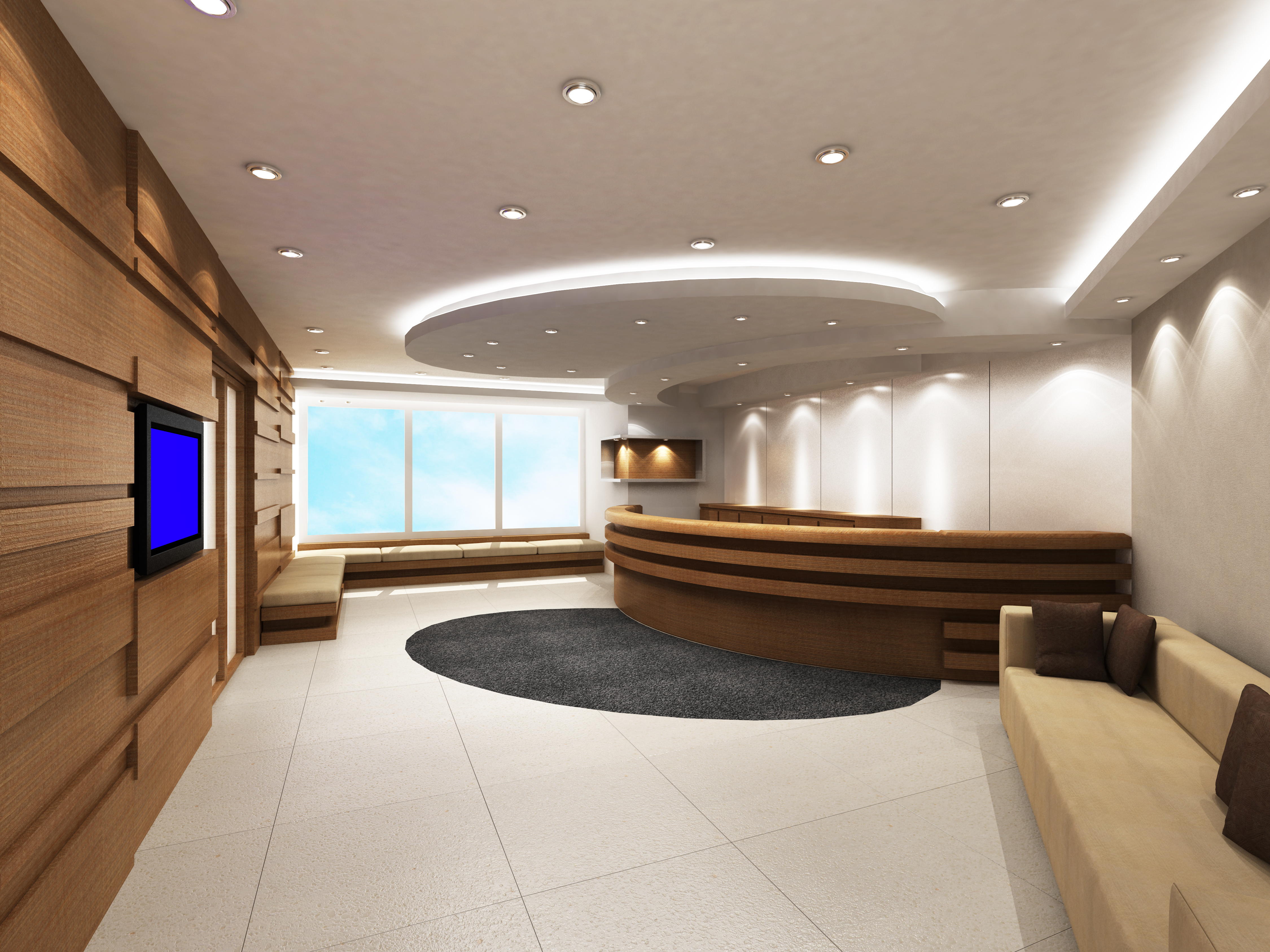 Pot lighting in ceiling of reception area||||