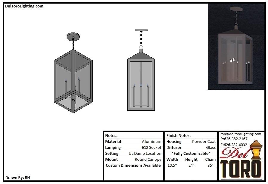 204P - Angled Frame Box Pendant