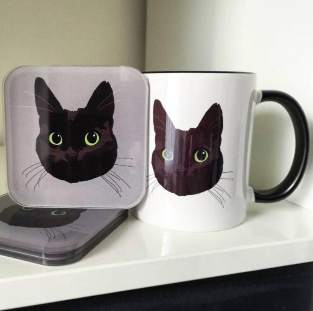 Custom Cat Mug and Coasters Set