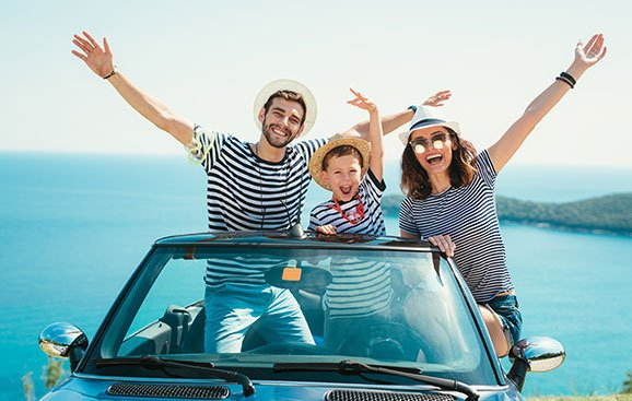 Happy Family Travel by Car
