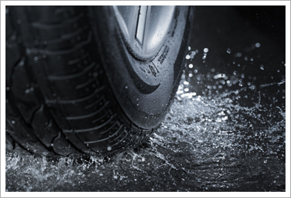 Tire on a wet road||||