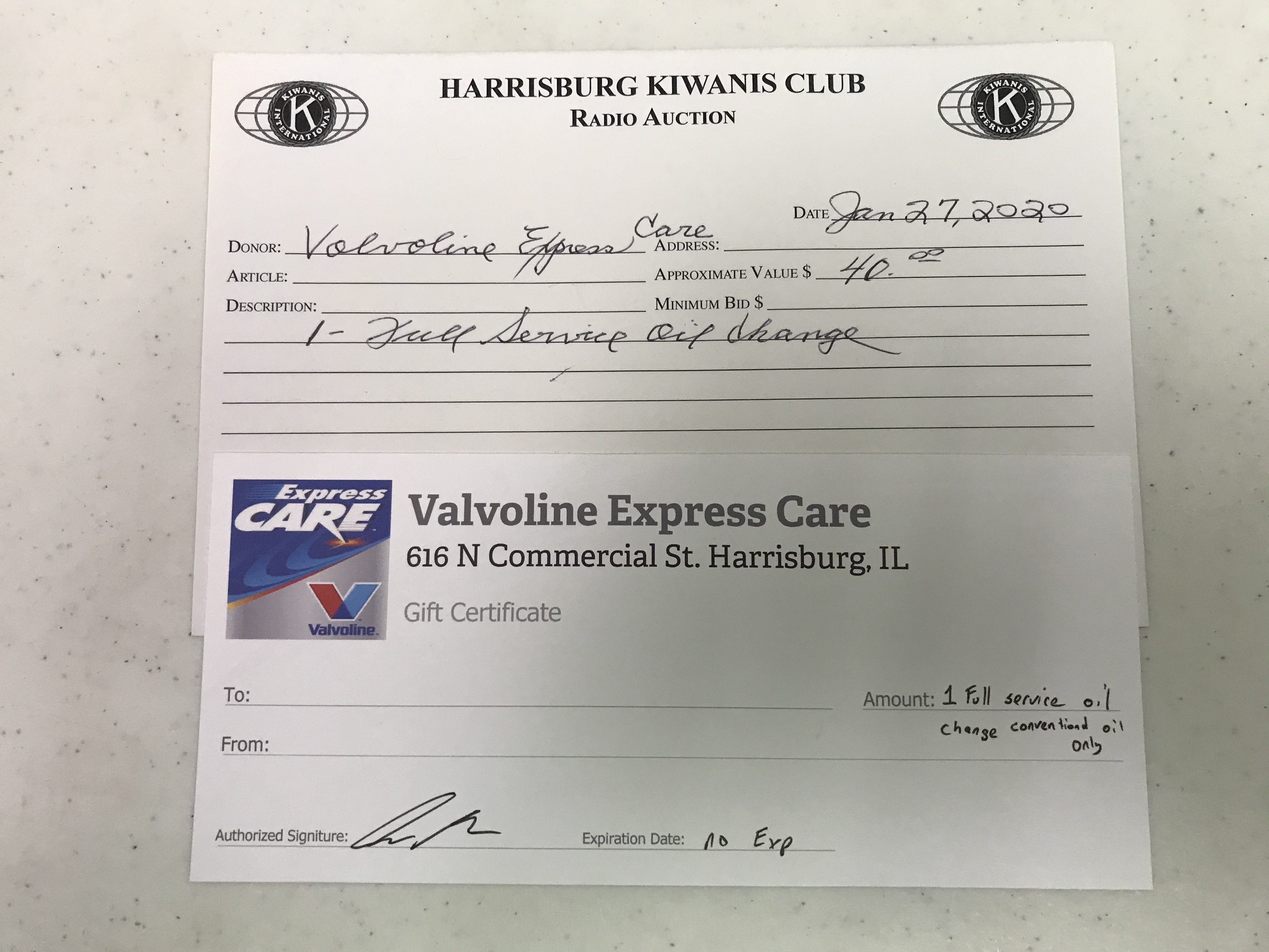 Item 218 - Valvoline Express Care 1 Free Full Service Oil Change - Conventional Oil Only
