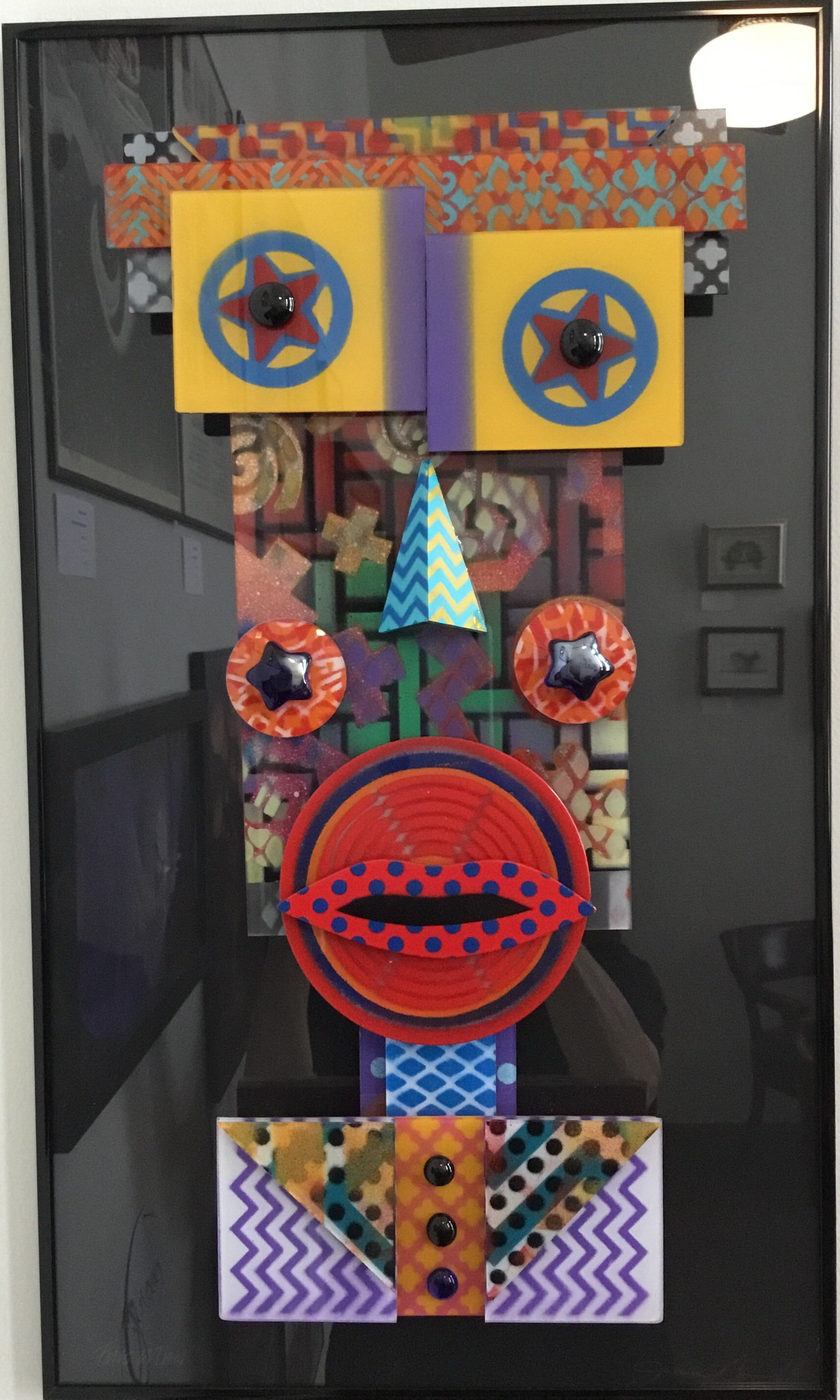 "Large Funky Face Glass Construction 14""x24"" $275."