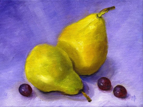 """Pears & Grapes ~ 6"""" x 8"""" Oil on Stretched Canvas"""
