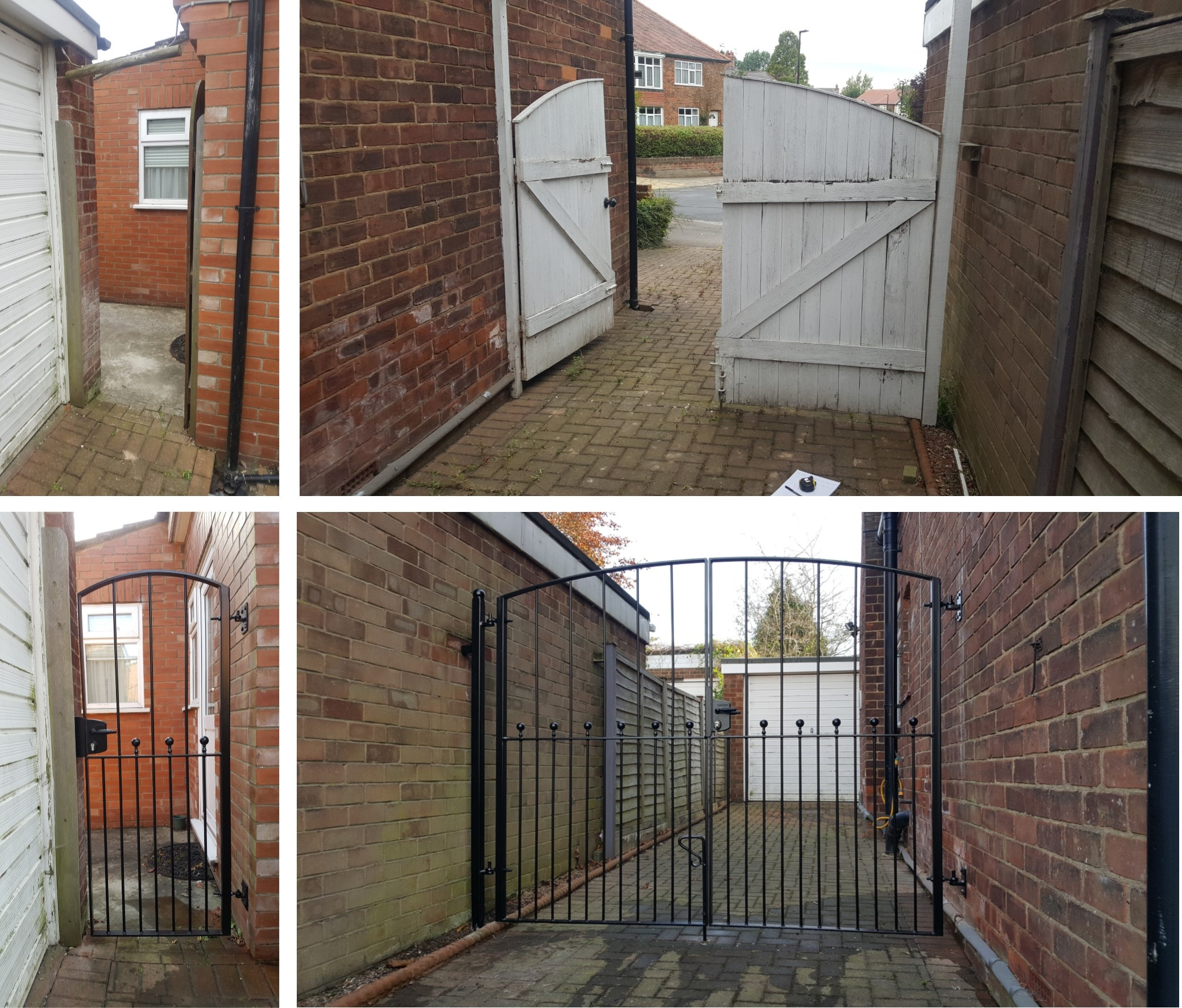 Smart new gates to replace existing wooden ones. Black satin powder coated finish.