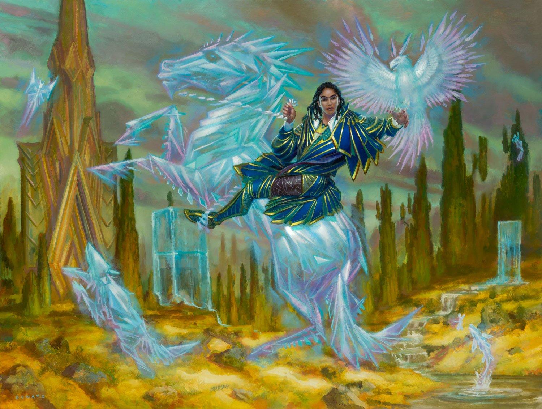 "Deekah, Fractal Theorist Strixhaven Commander 2021 18"" x 24""  Oil on Panel private collection"
