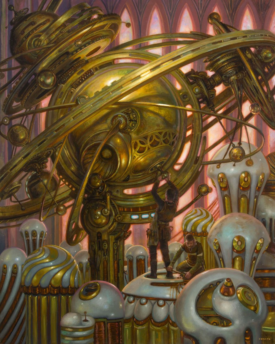 "Perpetual Motion Machine 30"" x 24""  Oil on Panel  2017 private commission collection of Lizann and Paul Lizotte"