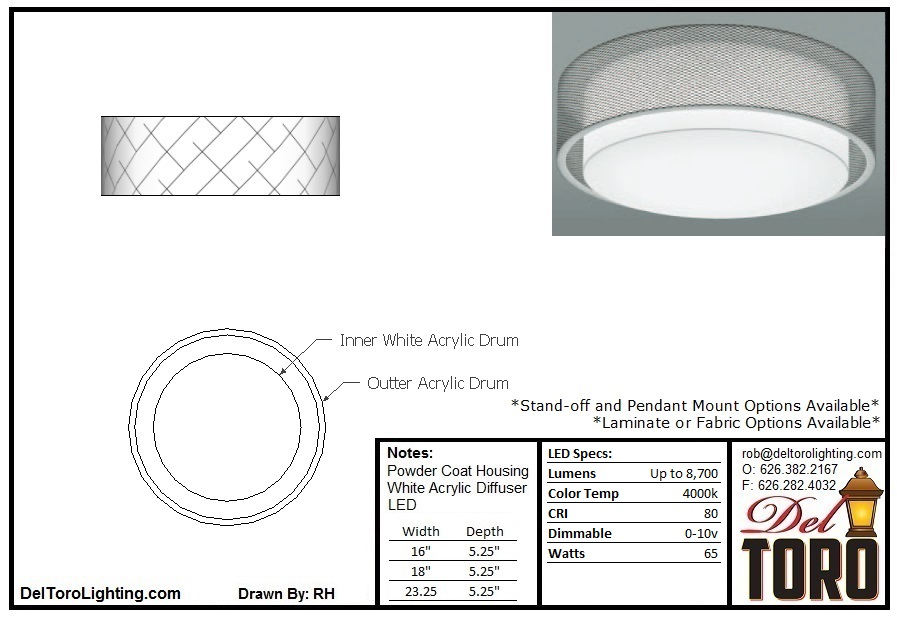 011C-Double Ring Drum Ceiling Mount