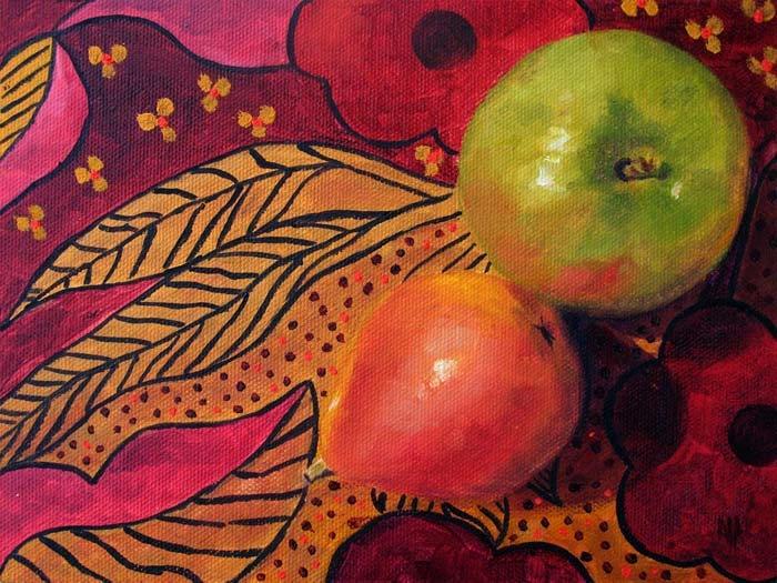 "Apple & Pear ~ 6""x8""   Oil on canvas panel"