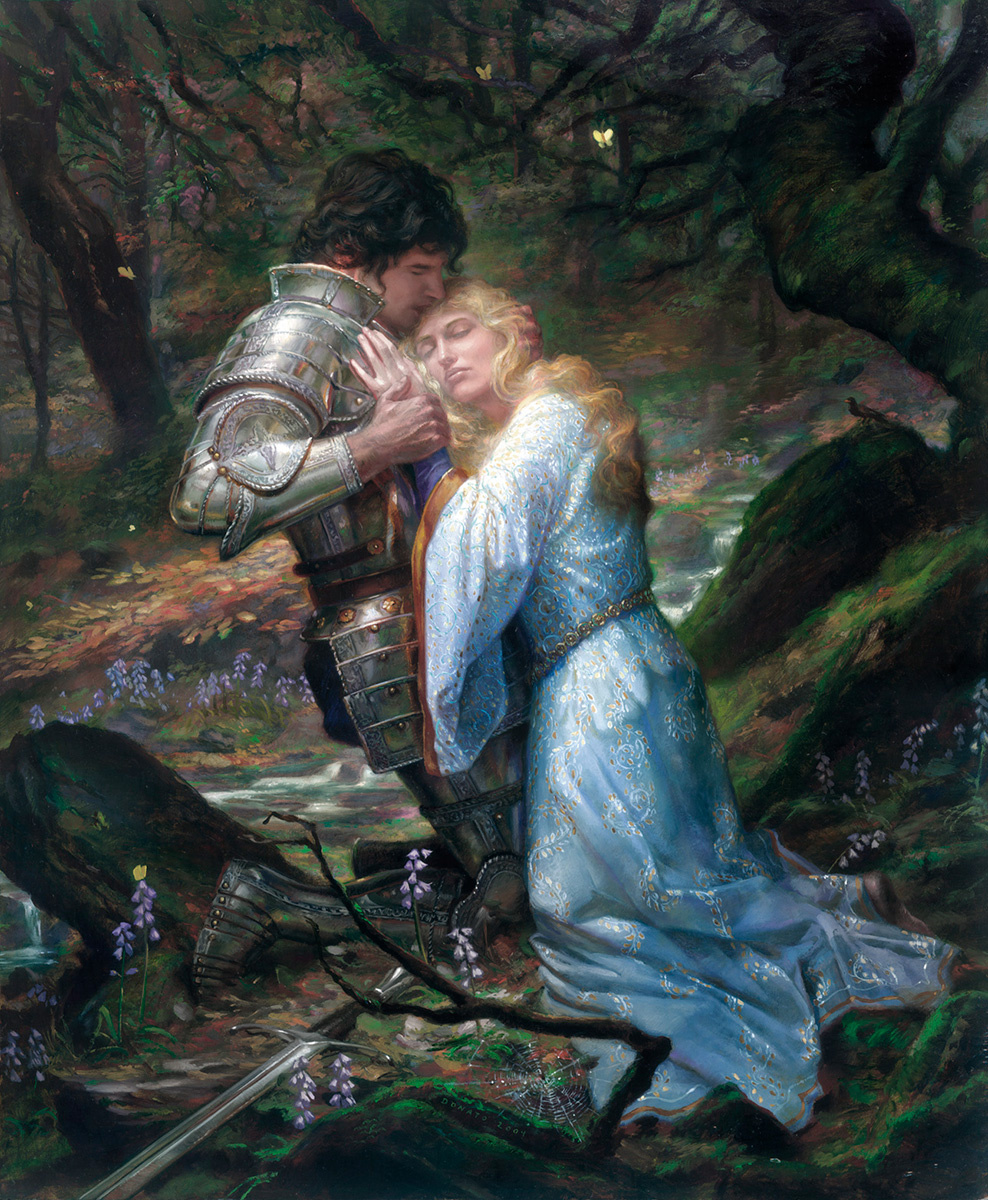 "Lancelot and Guinevere 18"" x 22"" Oil on Panel 2004 tragic pairing of these lovers from the Arthurian Legends collection of Jacqueline LeFrak"