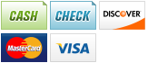 We accept Cash, Check, Discover, MasterCard and Visa.||||