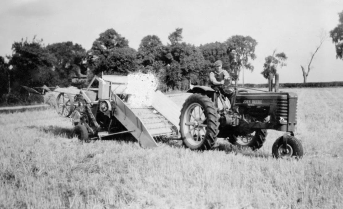 Baling at Lackford in 1940s