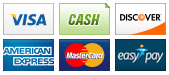 We accept Visa, Cash, Discover, American Express, MasterCard and EasyPay.