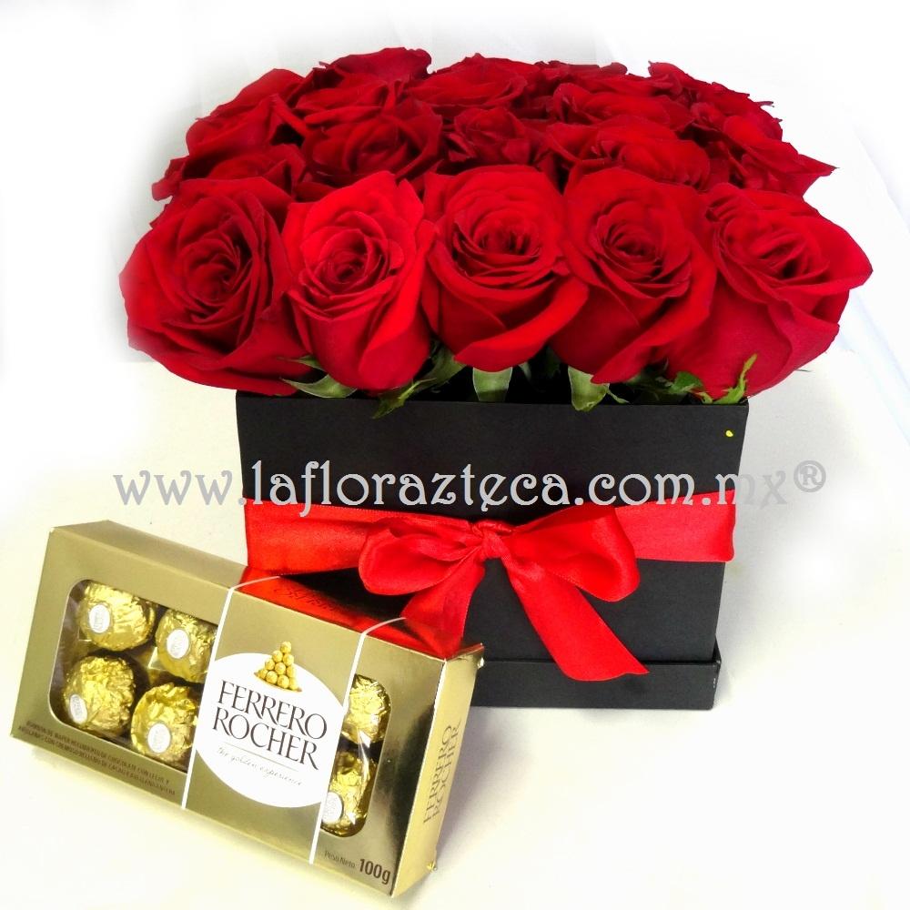Caja 24 rosas + ferrero