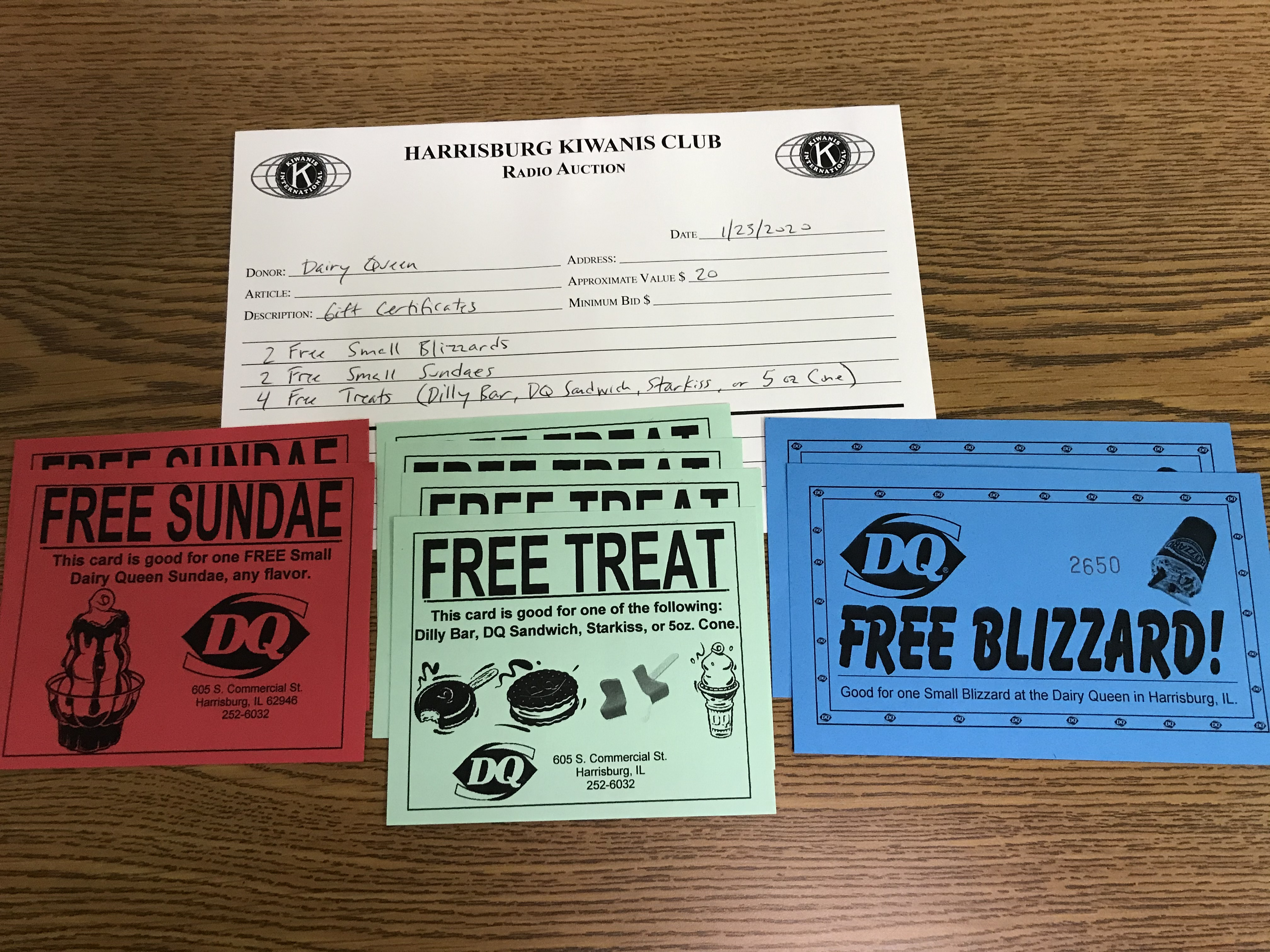 Item 332 - Dairy Queen 2 Free Small Blizzards, 2 Free Small Sundaes, 4 Free Treats (Dilly Bar, DQ Sandwich, Starkiss, or 5 oz Cone)
