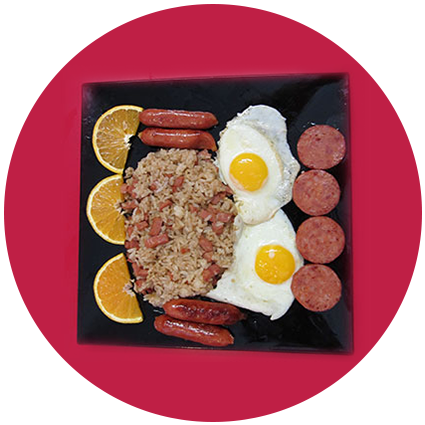Sausage Fried Rice With Orange Slices