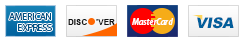 We accept American Express, Discover, MasterCard and Visa.