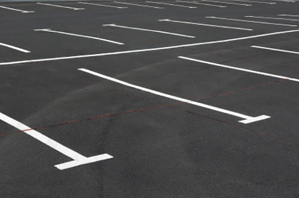Parking lot with white lines