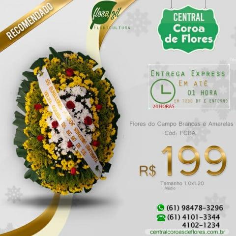 Coroa de Flores do Campo Brancas e Amarelas