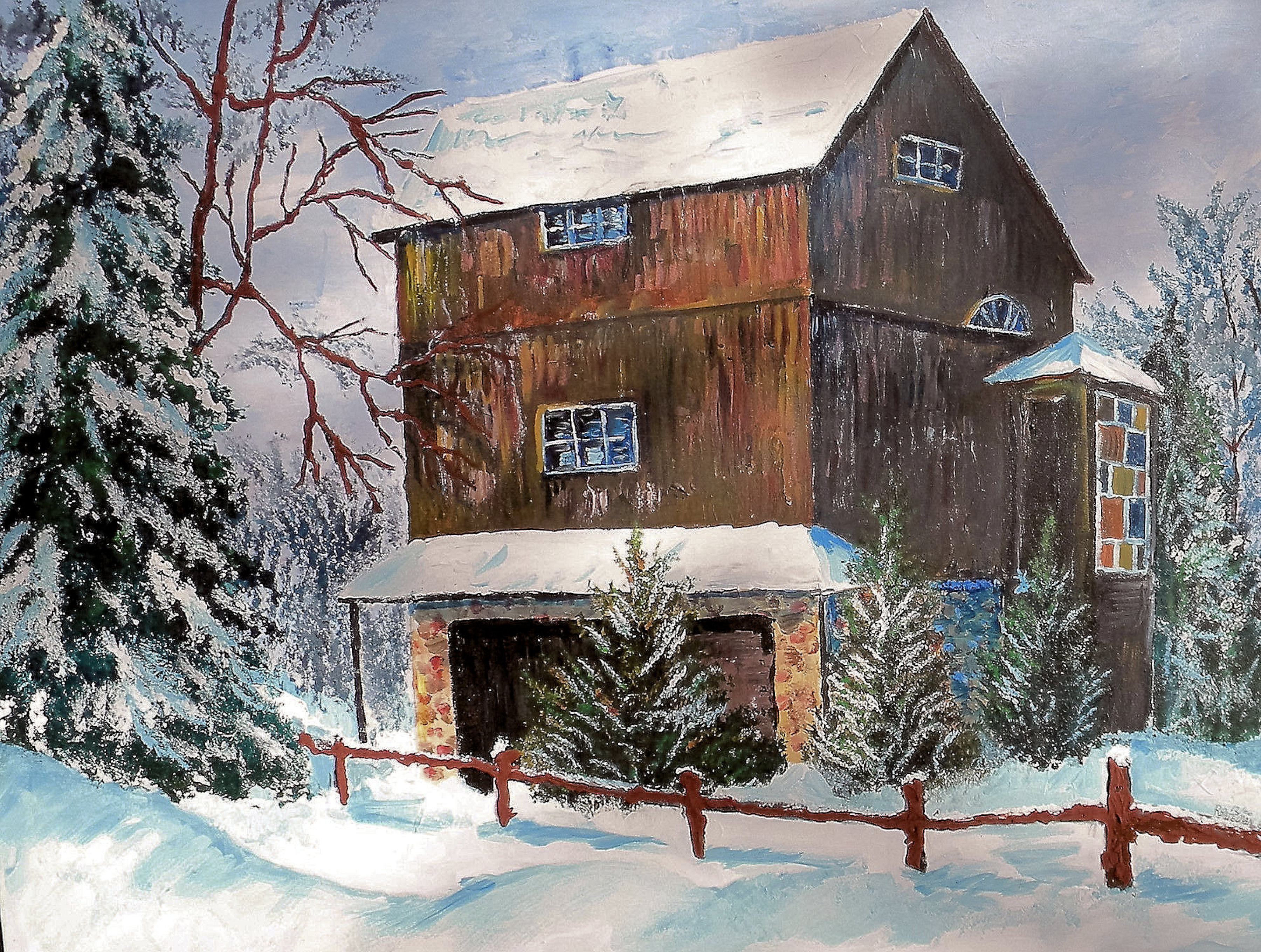 """MOM AND DADS BARN     30X40 """"  $500  HIGHLIGHTED WITH GLOW IN DARK LUMINESCENT PAINT"""