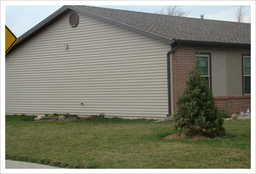 Siding with contrasting gable vent||||Addition Of Contrasting Gable Vent, Flashing, & Down Spout Enhance Curb Appeal