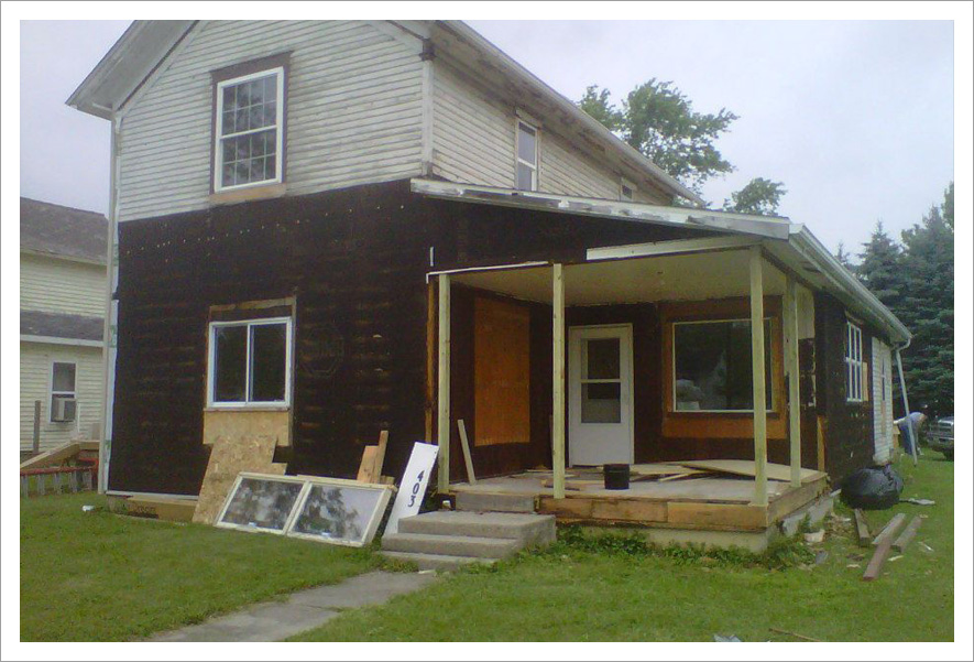 Siding project in progress||||Before
