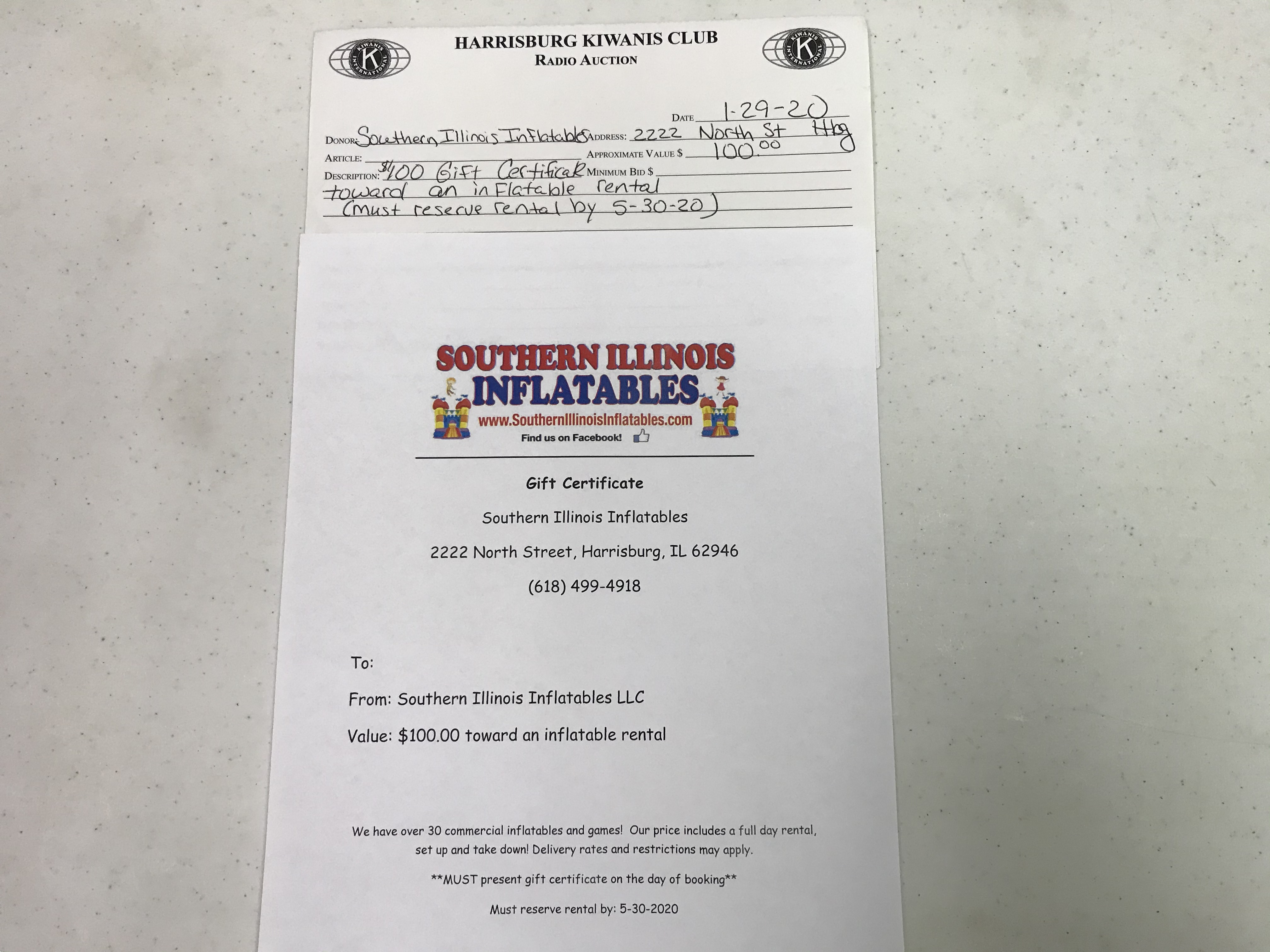 Item 336 - Southern Illinois Inflatables $100 Gift Certificate towards inflatable rental