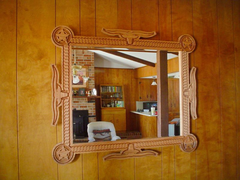 Custom Engraved Mirror Frame Red Oak