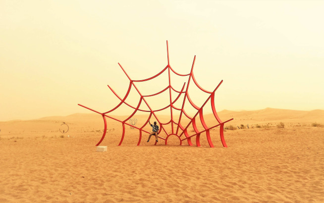 The Web of Dreams - painted steel - H.800 cm.- Miqin - desert - China