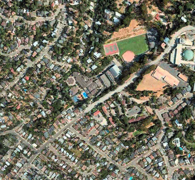 Satellite Image of Head Royce and Surrounding Neighborhood