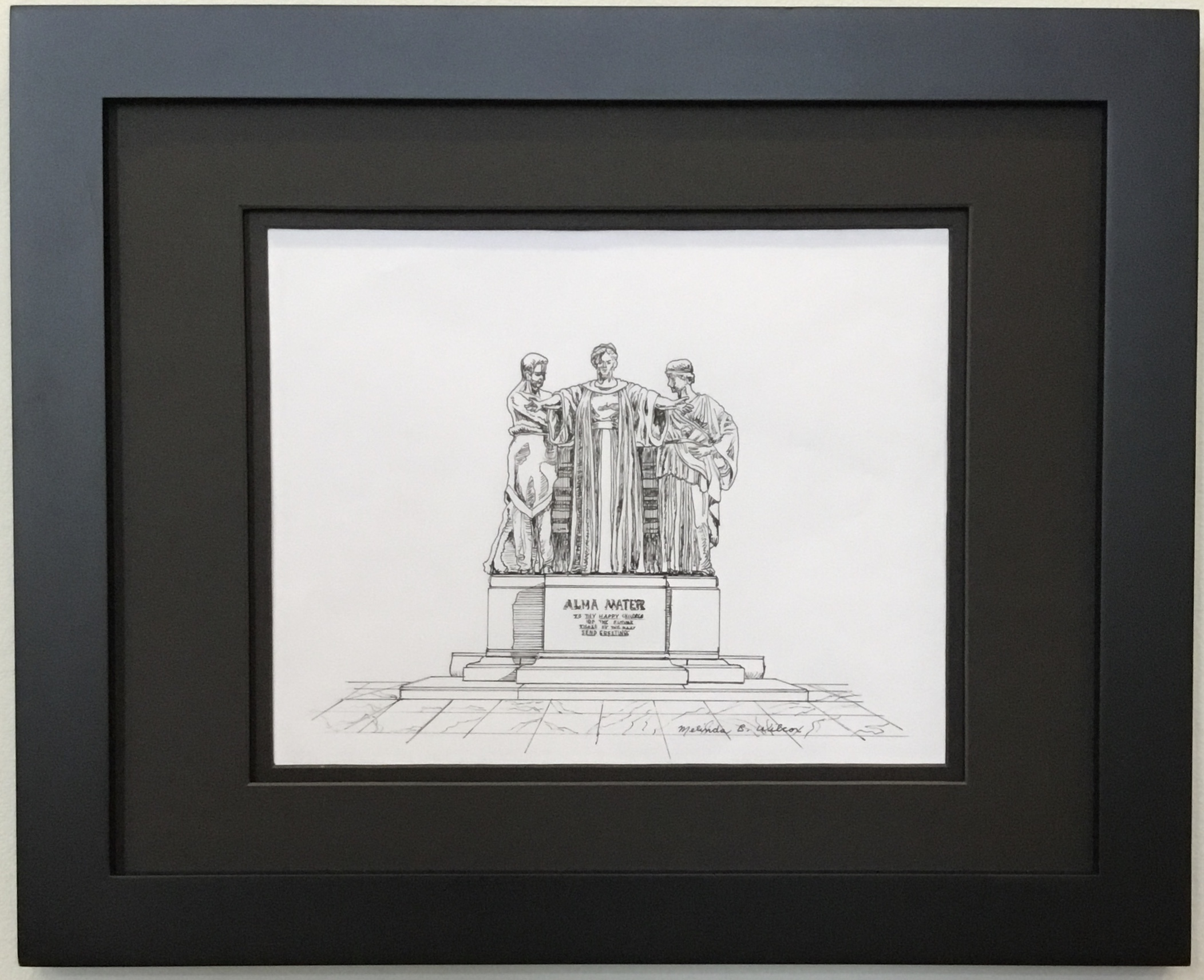 """Alma Mater Pen and Ink 10"""" X 8"""" $150."""