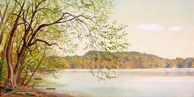 47. Potomac River at Seneca, 7x12 oil on panel