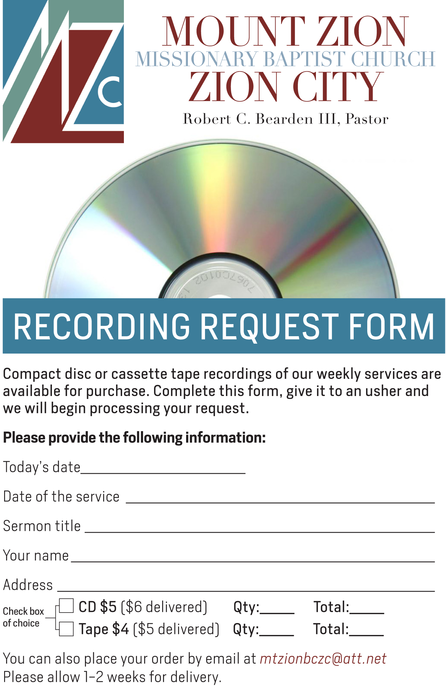 Church Service Recording Form