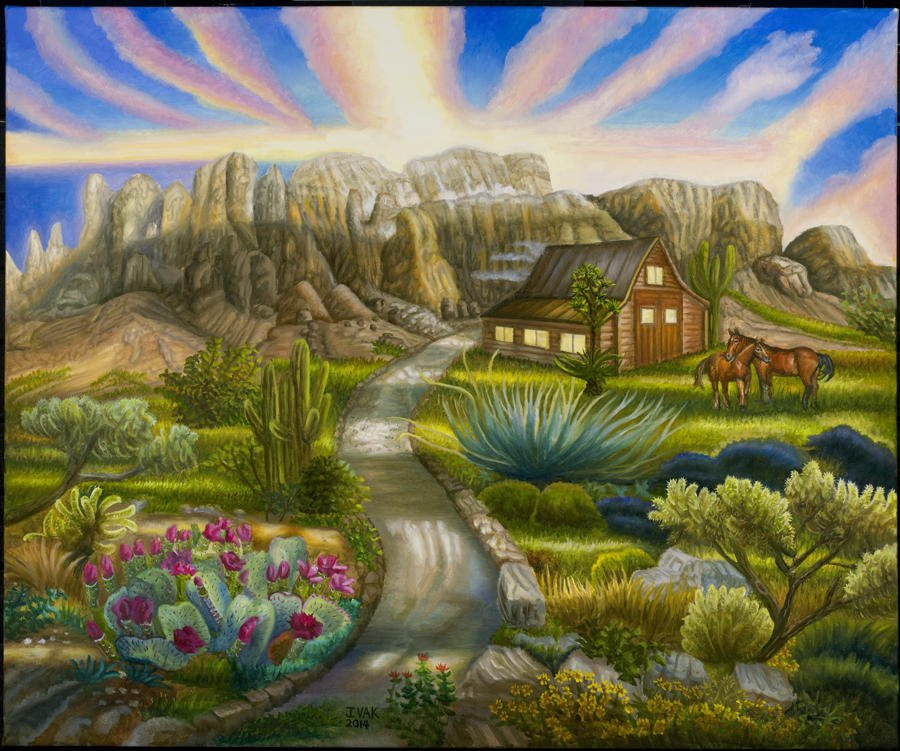 Superstition Mountains 30x36 Original Oil $3850 2014